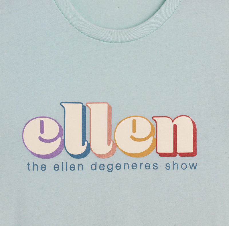 Ellen Show Retro Rainbow Tee - Light Blue