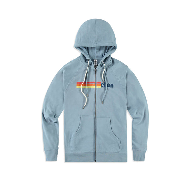 Ellen Show Multicolor Stripes Logo Zip Up - Blue - front