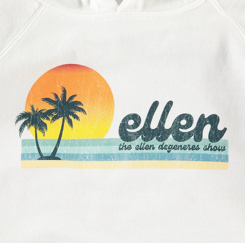 The Ellen DeGeneres Summer Palm Tree Graphic Hoodie - White - logo detail close up
