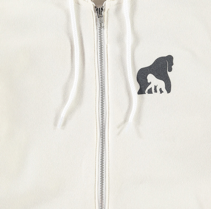 The Ellen DeGeneres Fund Gorilla Summer Zip Up - Bone - logo detail close up