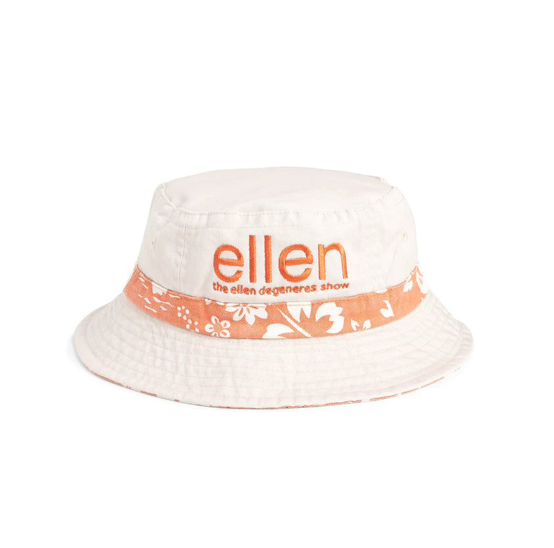 Ellen Show Hibiscus Print Bucket Hat - Orange - front