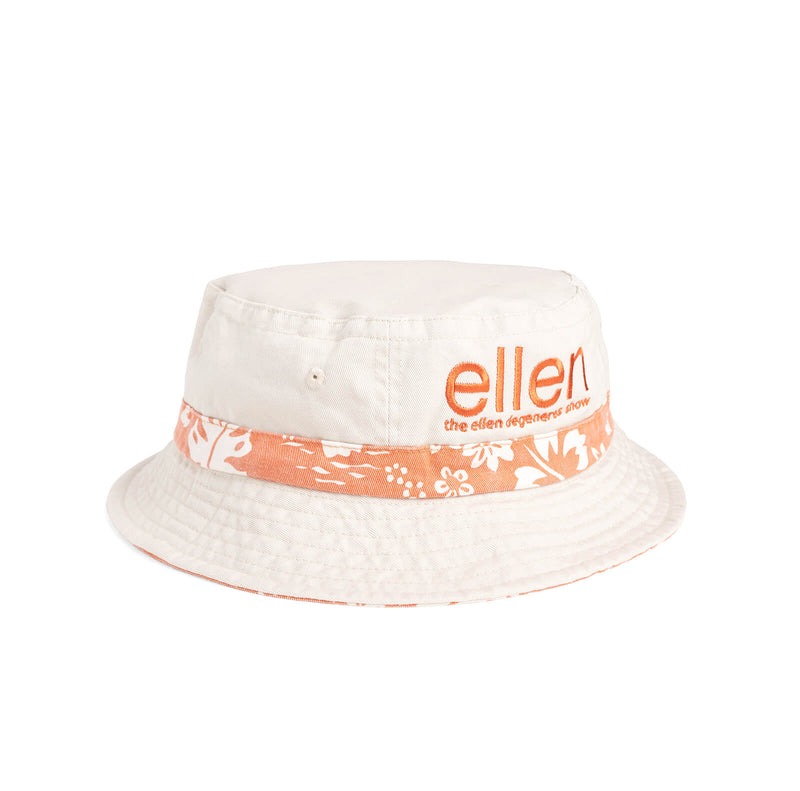 Ellen Show Hibiscus Print Bucket Hat - Orange - side