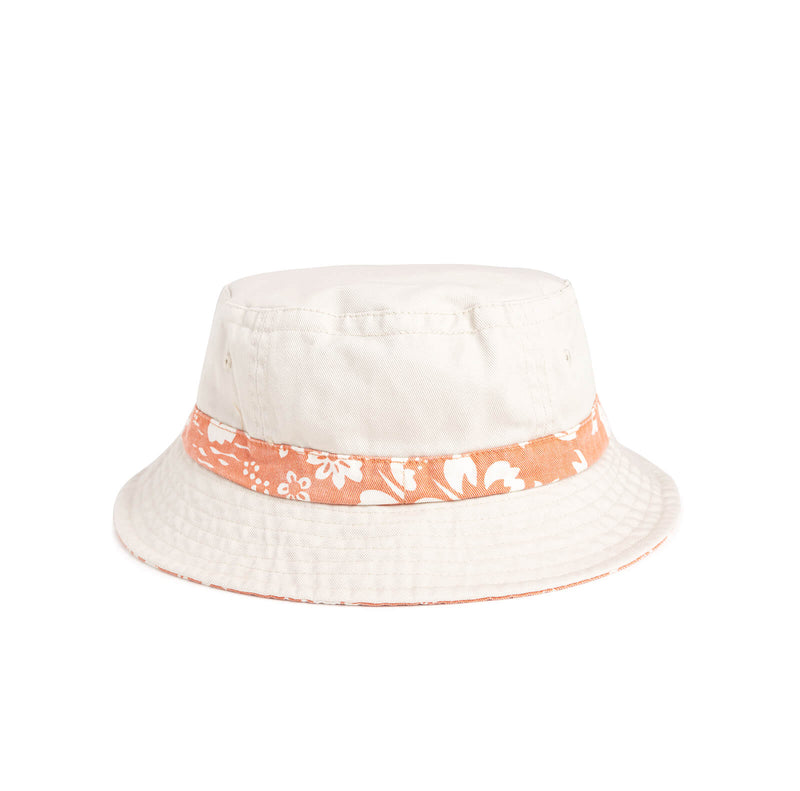 Ellen Show Hibiscus Print Bucket Hat - Orange - back