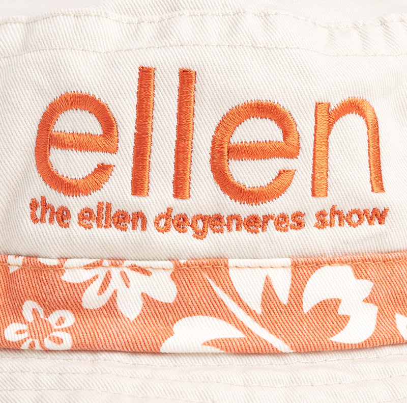 Ellen Show Hibiscus Print Bucket Hat - Orange - logo detail