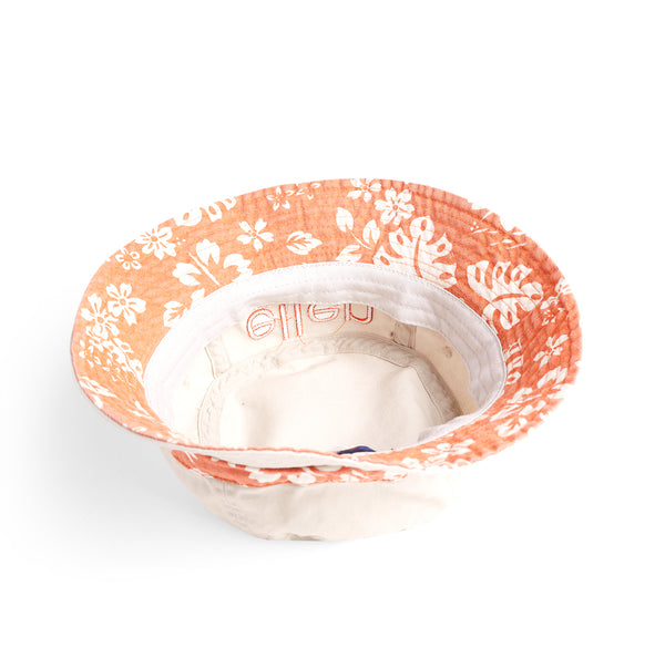 Ellen Show Hibiscus Print Bucket Hat - Orange
