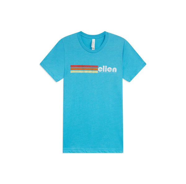Ellen Logo Multicolor Stripes Tee - Blue - front