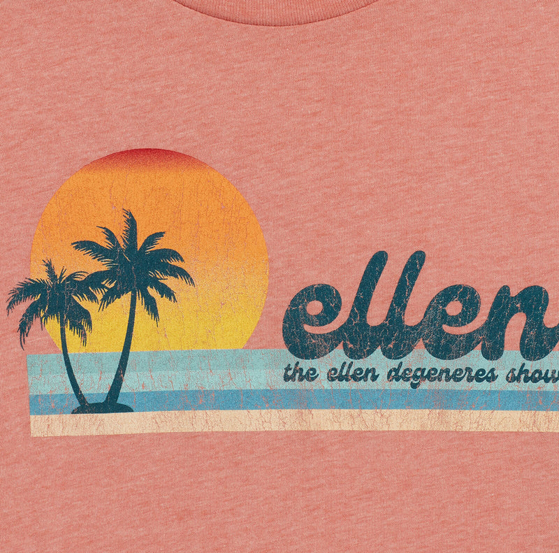 The Ellen DeGeneres Show Summer Palm Tree Graphic Tee - Peach - logo detail close up