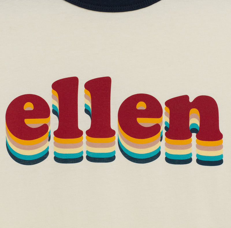 Ellen Show Retro Ringer Summer Tee - Beige - logo detail close up