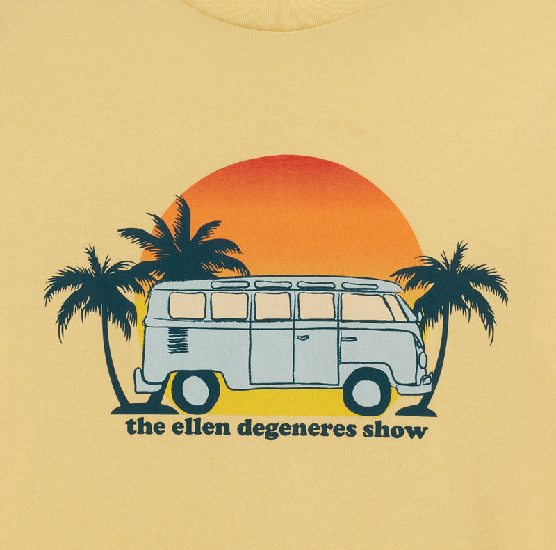 Ellen Show Summer Bus Graphic Tee - Yellow - logo detail close up