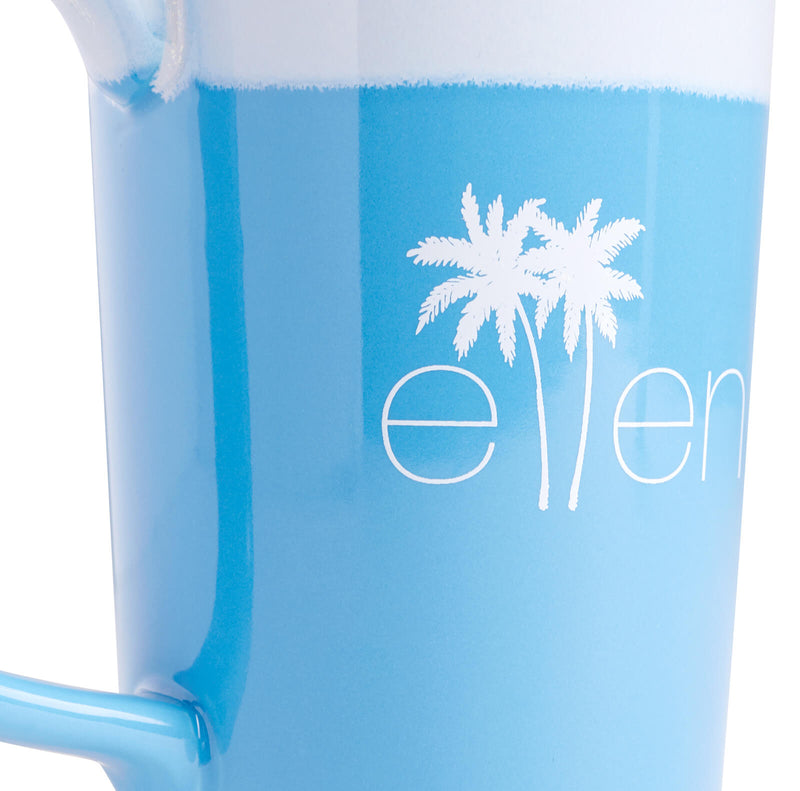 The Ellen DeGeneres Show Summer Palm Tree Logo Mug - Blue - logo detail close up