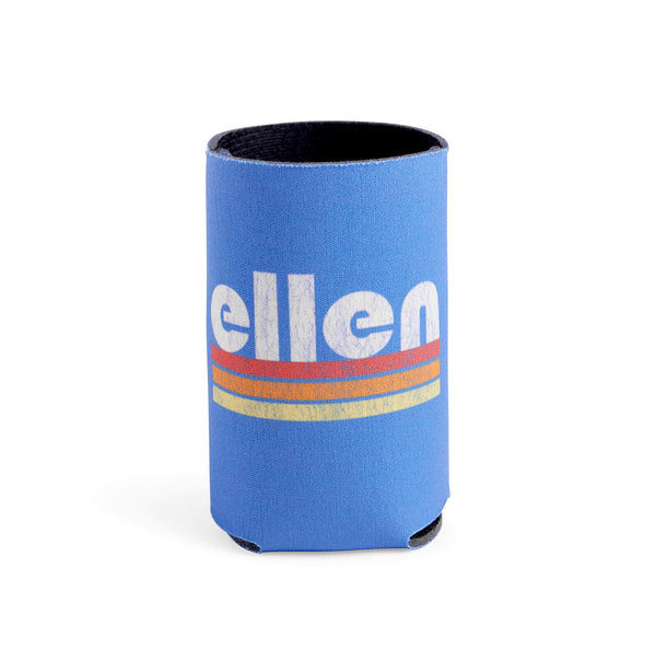 Ellen Show Multicolor Stripes Logo Koozie - Blue - front