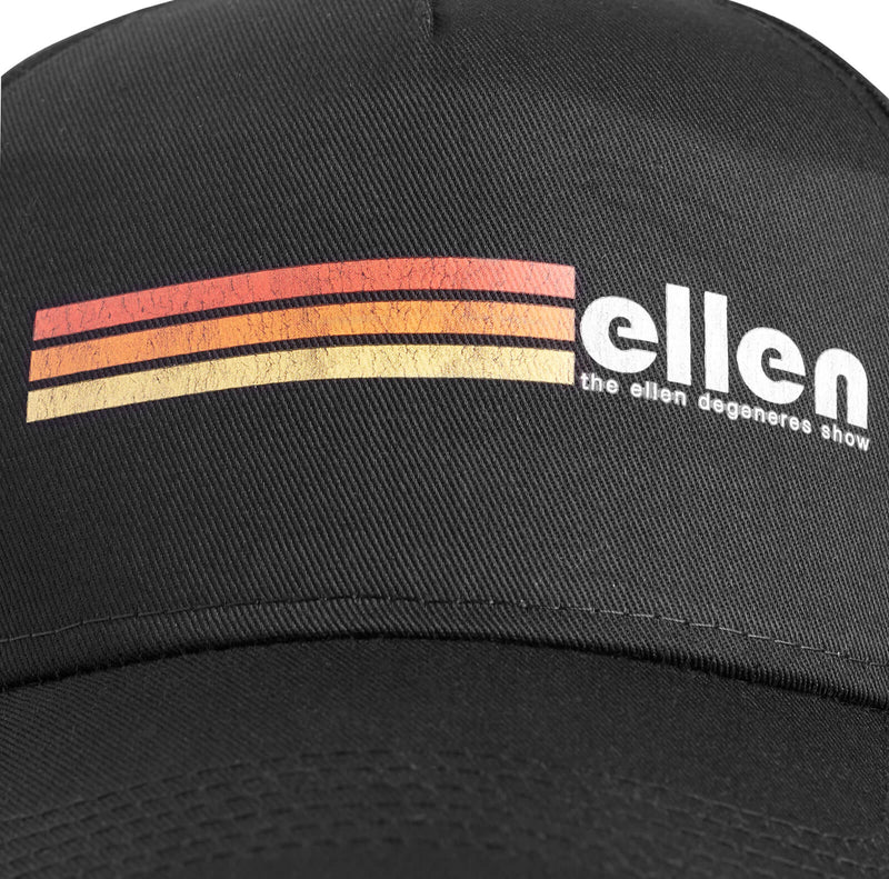 Ellen Show Multicolor Stripes Hat - Black - logo detail