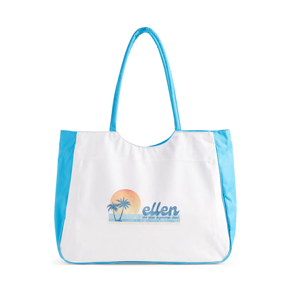 Ellen Show Summer Palm Tree Beach Bag - Blue - front