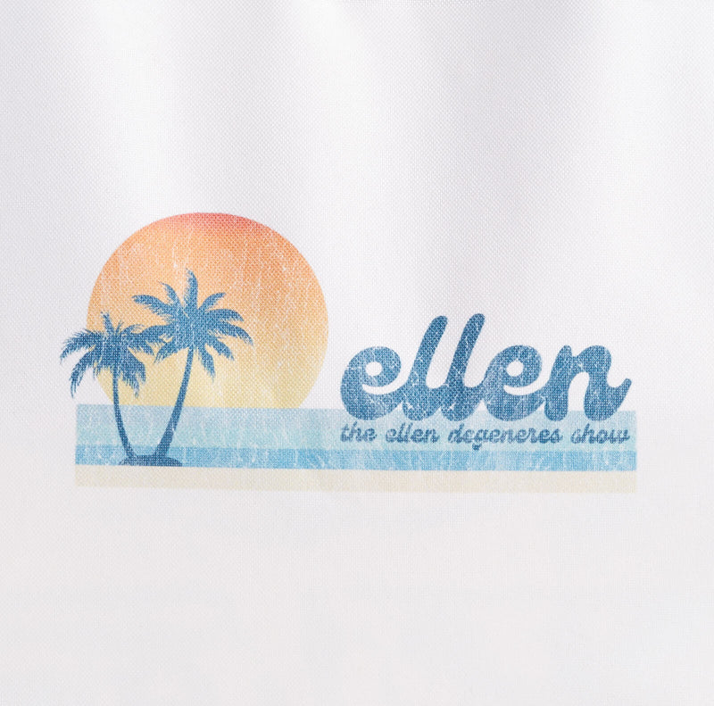 Ellen Show Summer Palm Tree Beach Bag - Blue - logo detail close up