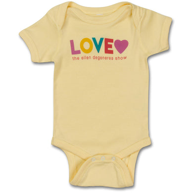 The ellen DeGeneres Show Shop-Love Baby Onesie- Yellow- Front