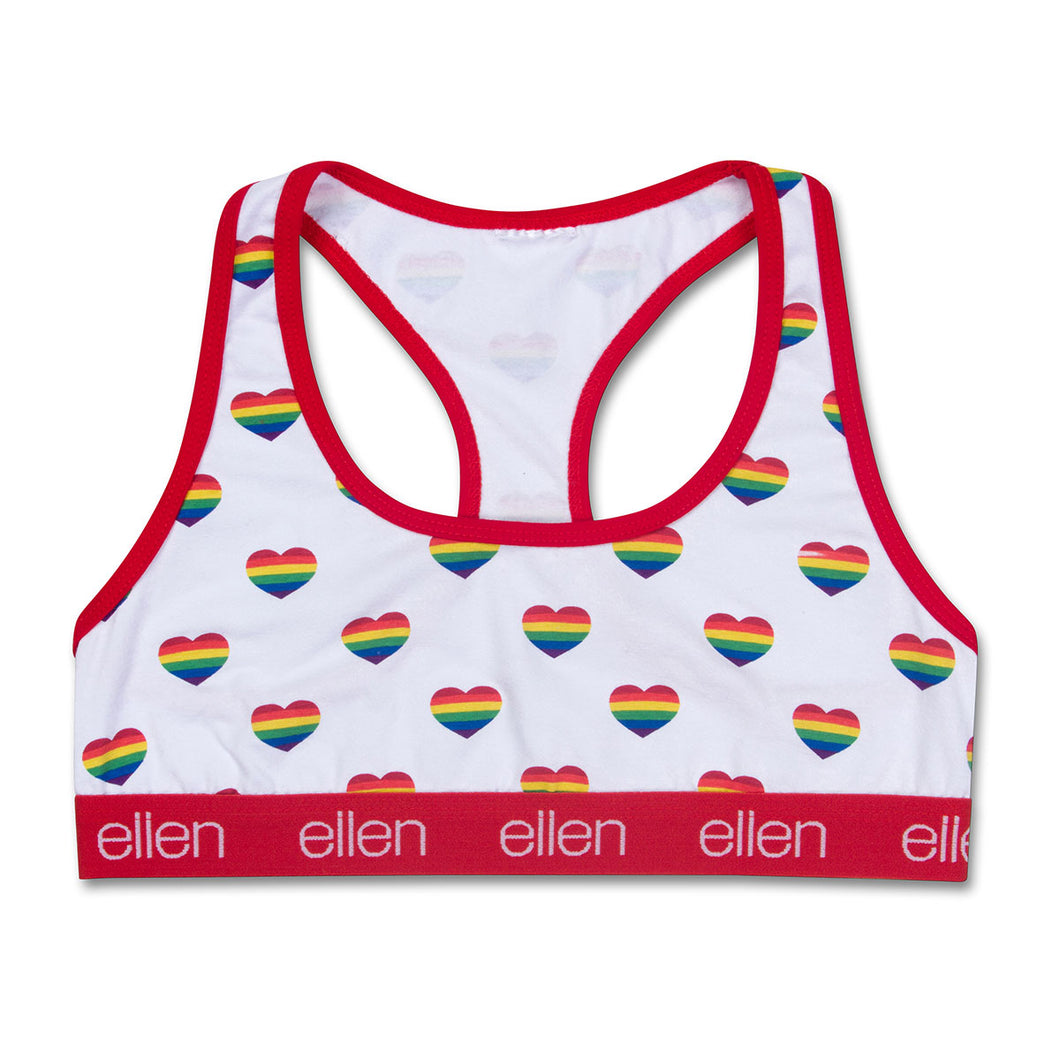 The ellen DeGeneres Show Shop-Rainbow Heart Bralette- Heart- Front