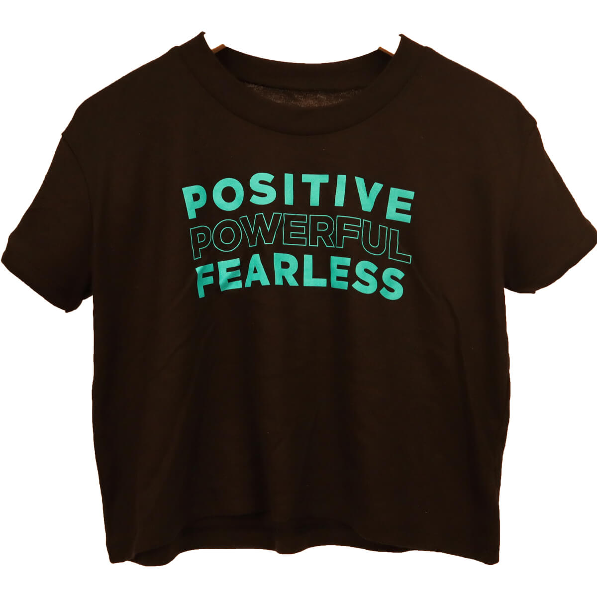 The Ellen DeGeneres Show Shop - Positive Powerful Fearless Cropped Tee - Black - Front