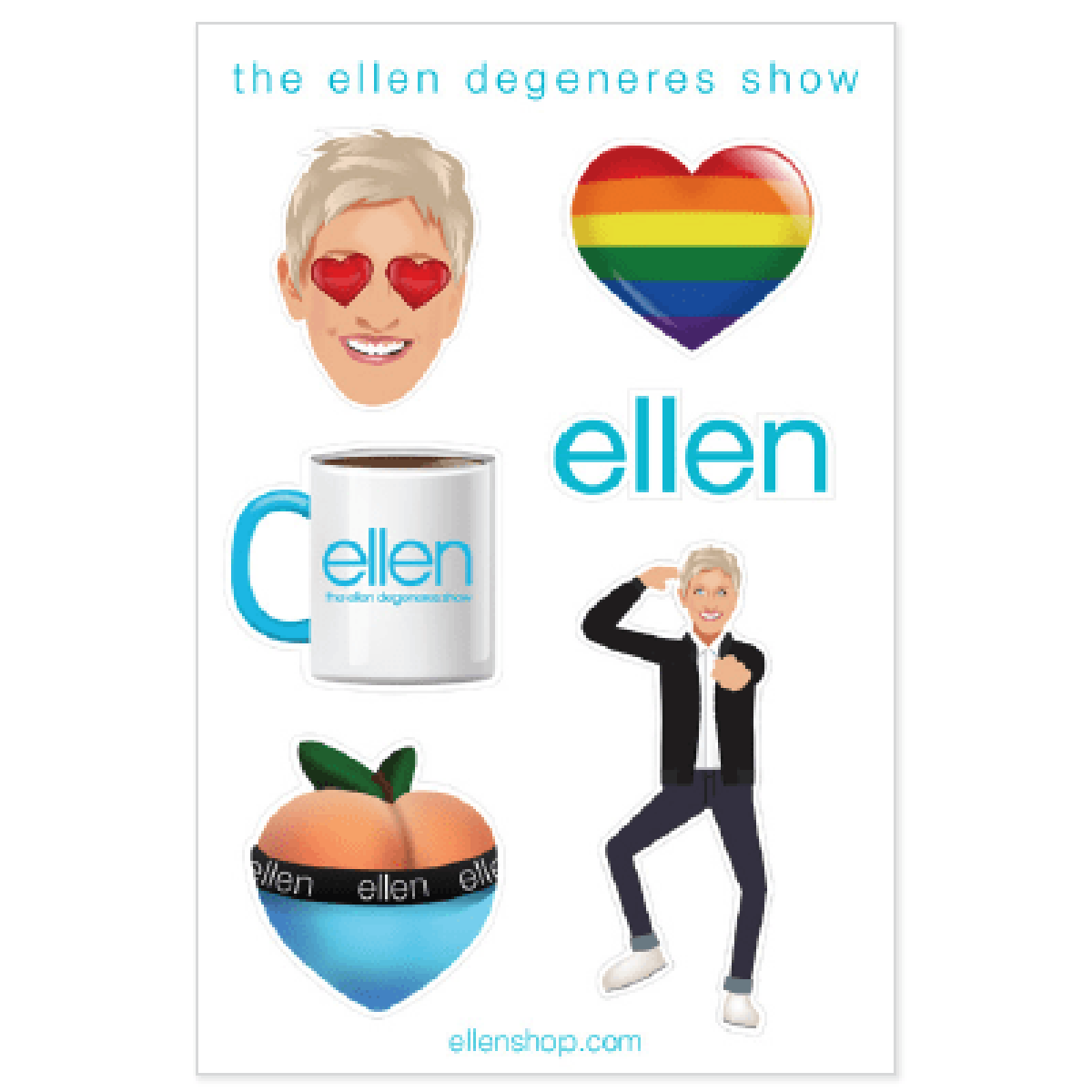 The ellen DeGeneres Show Shop- Emoji Sticker pack - set of 6- Blue- Front