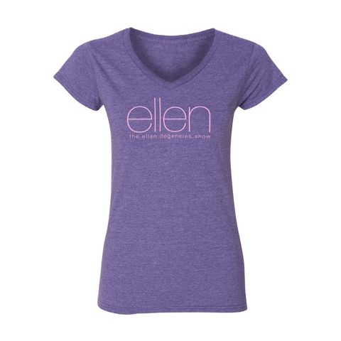 ellen Show V-Neck T-Shirt- Purple