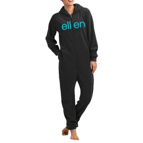 Adult Black One-Piece Pajama Onesie - Ellen Degeneres Show Shop - 1
