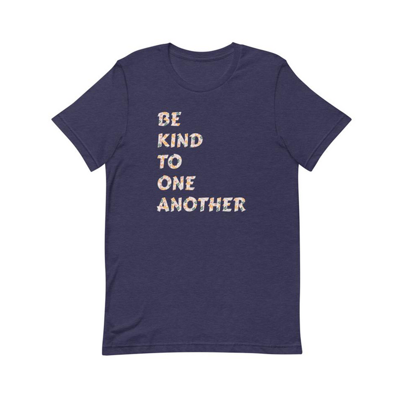 Be Kind Floral Navy Unisex T-Shirt