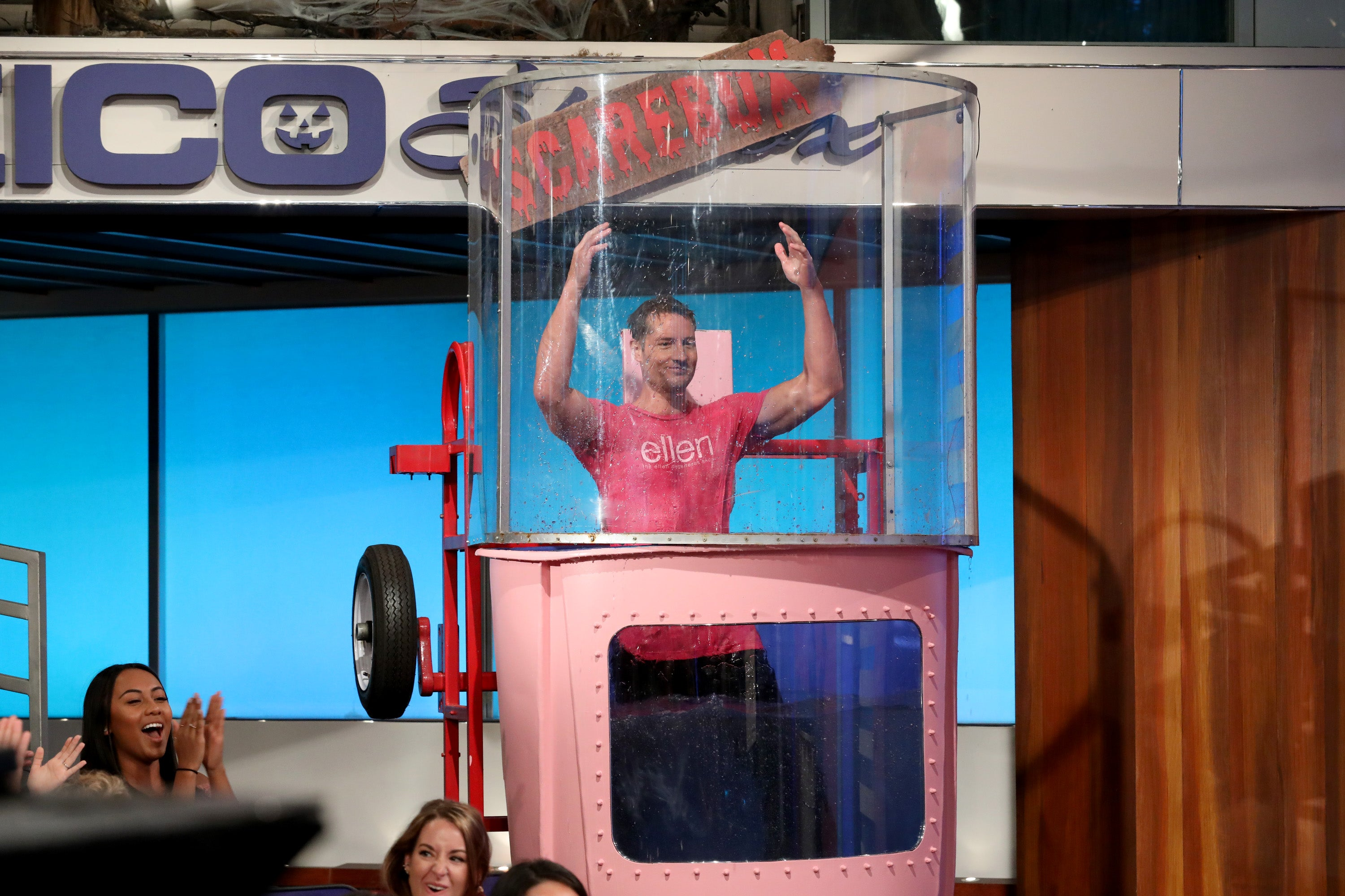 Hannah Brown Takes Aim at Justin Hartley in a Dunk Tank