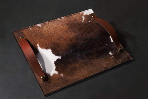 Brown | Black Cowhide Lucite Tray | Leather Handles