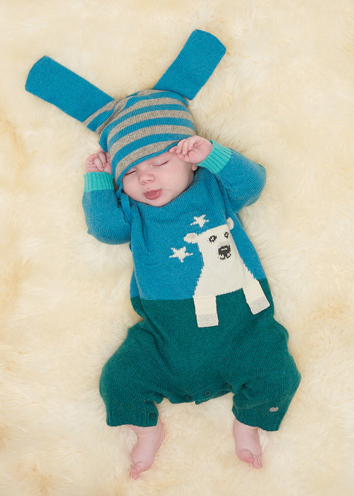 The Bonnie Mob Baby in Teal polar bear babygrow | Cool Baby Clothes | Funky Baby Clothes | Crab and The Fox