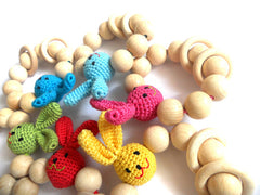 Organic Crochet Teether Wooden with rabbit