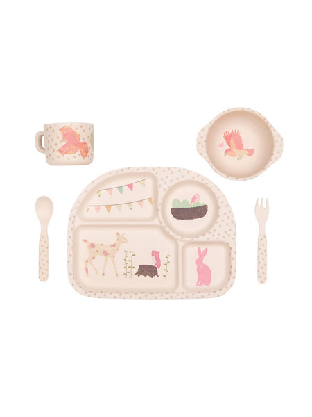 Woodland Tea Party Feast - 5 Piece Bamboo Childrens Dinner Set Front