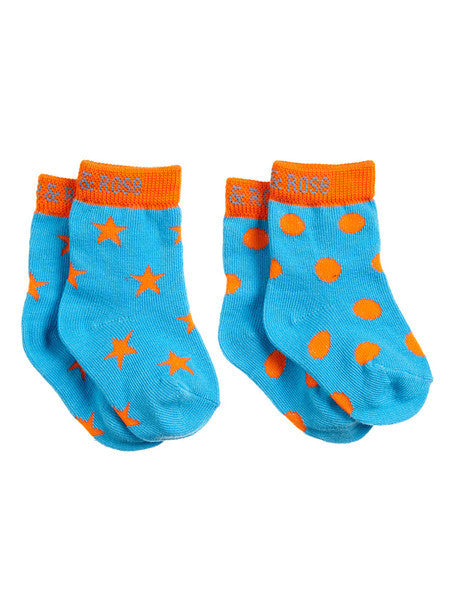 blade & rose dinosaur socks chunky orange blue spots stars