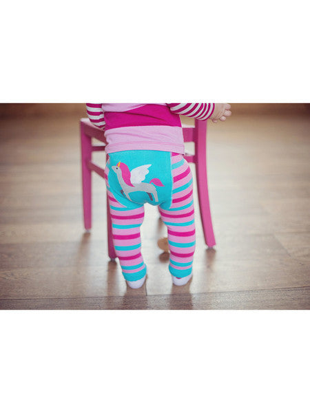 Pink and Blue striped unicorn baby leggings for girls
