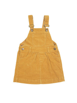 dotty dungarees ochre corduroy yellow dress - baby dungarees front