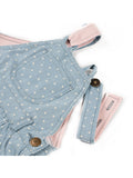 dotty dungarees denim dress - baby dungarees - button loop