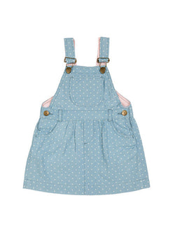 dotty dungarees denim dress - baby dungarees front