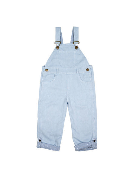 dotty dungarees pale blue stripe baby dungarees front