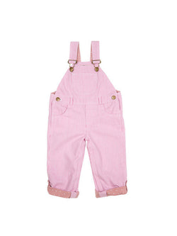 dotty dungarees pink stripe baby dungarees front