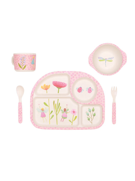 Fairy Garden - 5 Piece Bamboo Childrens Dinner Set