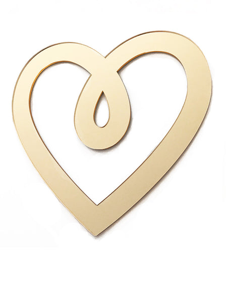 Lala Loves Decor Heart Acrylic Sign - Gold Mirror