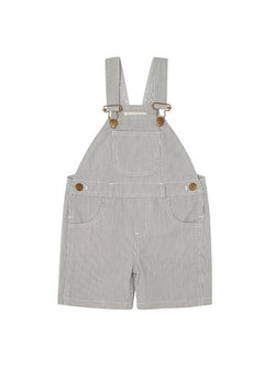 dotty dungarees grey shorts - baby dungarees front