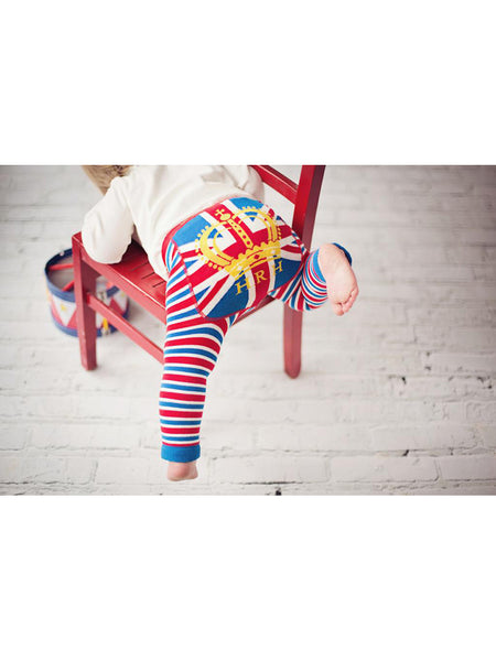 Union Jack baby boy leggings leaning on a chair