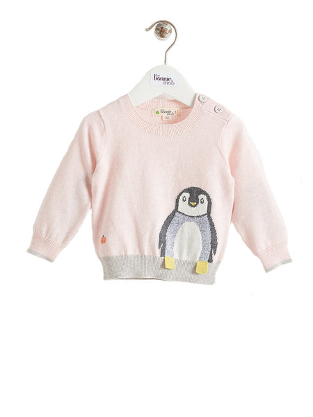 DOPPLE Pale Pink Penguin Bonnie Mob Baby Intarsia Jumper