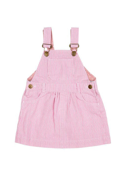 Pink stripe dungarees dress baby dungarees front