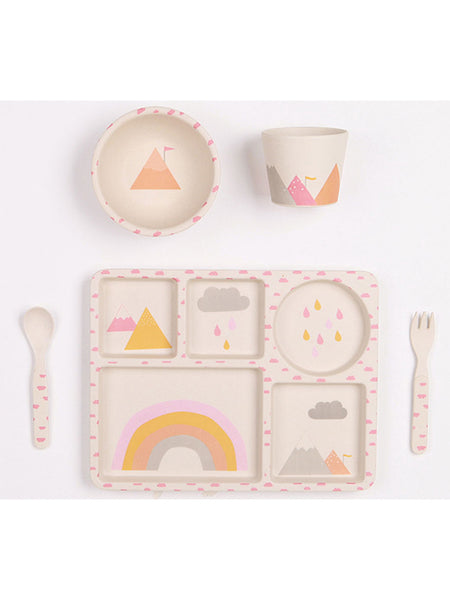 Rainbows SQUARE - 5 Piece Bamboo Childrens Dinner Set