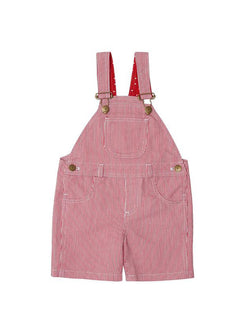 red strip shorts dungarees - baby dungarees - front