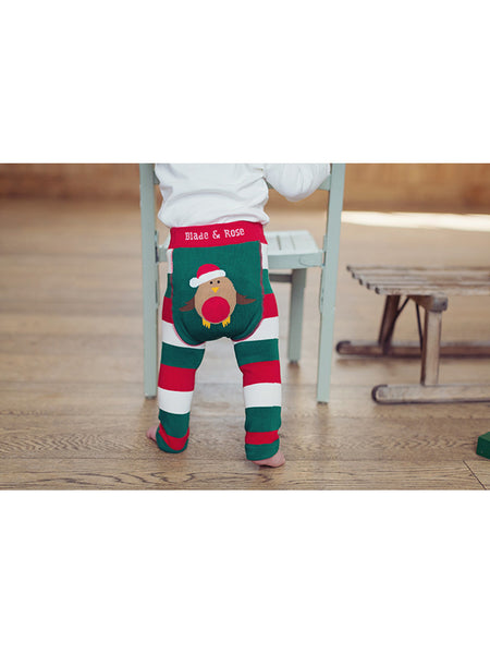 Robin Christmas baby leggings with baby standing