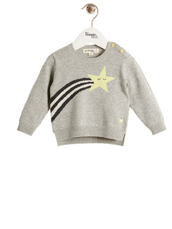 SONIC Organic Cotton Unisex Baby Star Sweater - Monochrome
