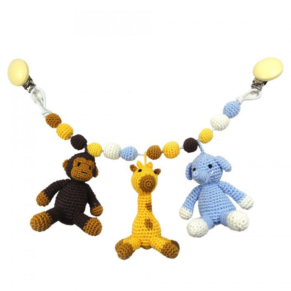 Pram Toys - Mr. Monkey, Mr. Giraffe and Sir Elephant natureZOO