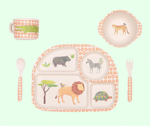 on safari bamboo children's dinner set