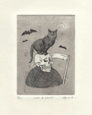Cat & Grim - Limited Edition Hand-Printed Etching Print